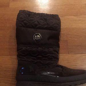 Coach designer boots w/Coach leather wear emblem.